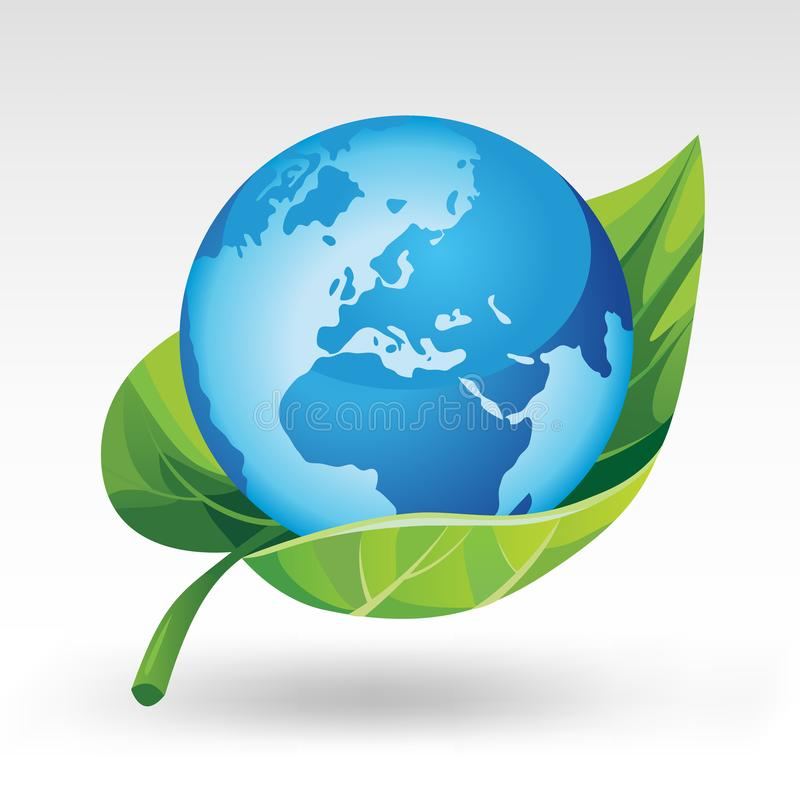 Earth with green leaf royalty free illustration
