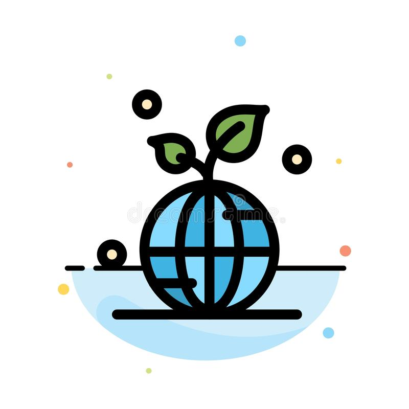 Earth, Green, Planet, Save, World Abstract Flat Color Icon Template stock illustration
