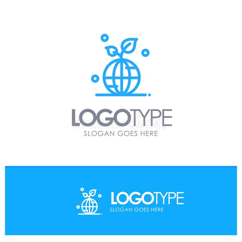 Earth, Green, Planet, Save, World Blue outLine Logo with place for tagline royalty free illustration