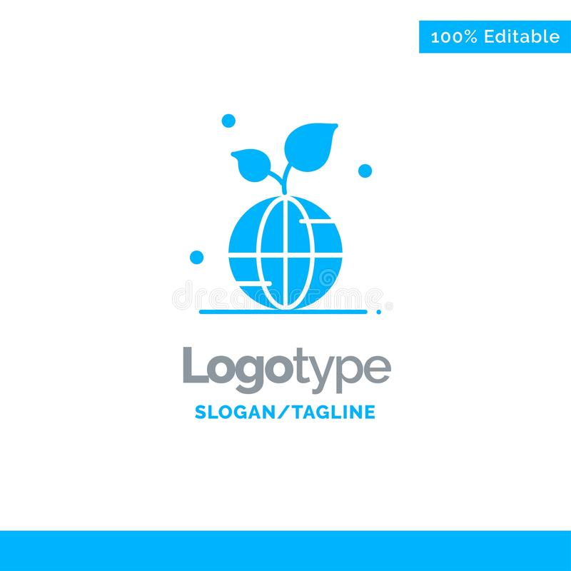 Earth, Green, Planet, Save, World Blue Solid Logo Template. Place for Tagline royalty free illustration