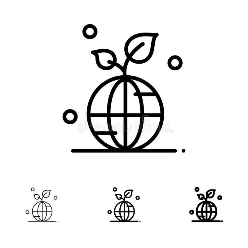 Earth, Green, Planet, Save, World Bold and thin black line icon set stock illustration