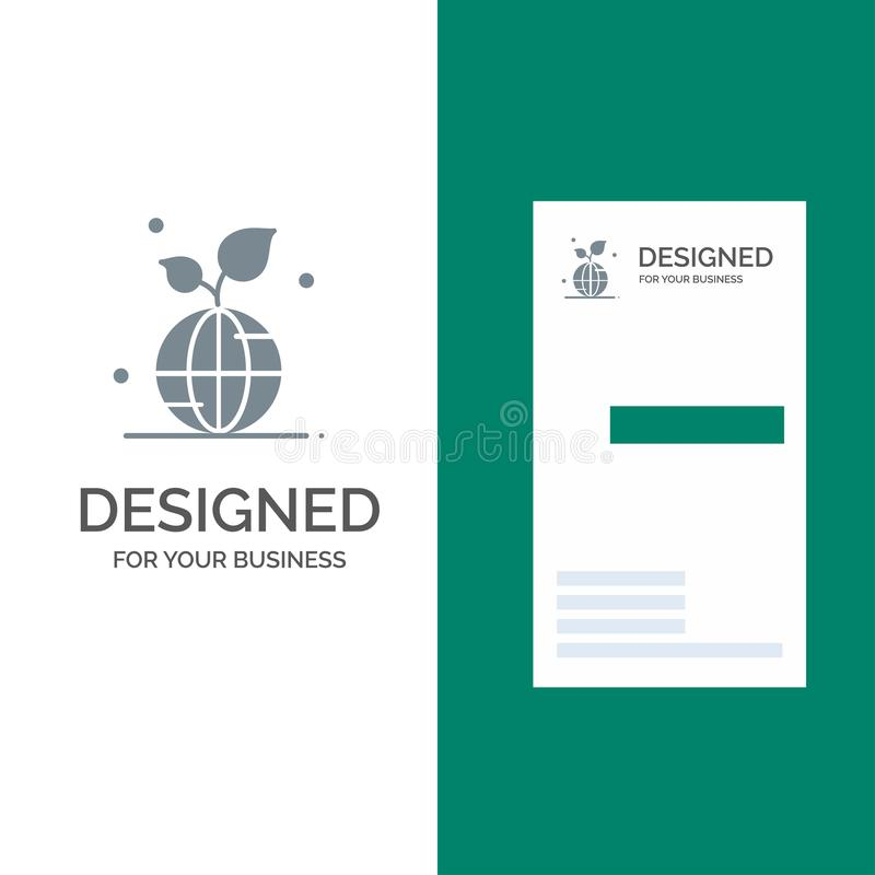 Earth, Green, Planet, Save, World Grey Logo Design and Business Card Template royalty free illustration