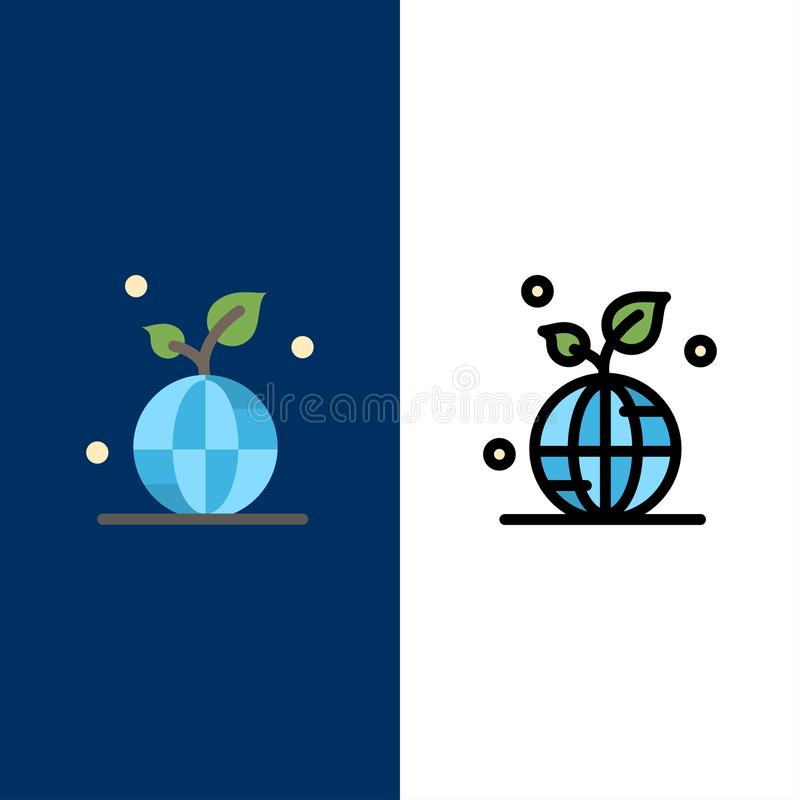 Earth, Green, Planet, Save, World  Icons. Flat and Line Filled Icon Set Vector Blue Background royalty free illustration