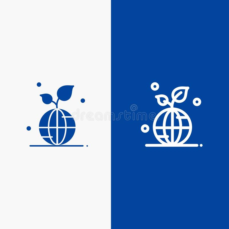 Earth, Green, Planet, Save, World Line and Glyph Solid icon Blue banner Line and Glyph Solid icon Blue banner royalty free illustration