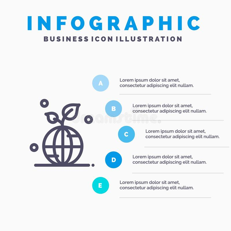 Earth, Green, Planet, Save, World Line icon with 5 steps presentation infographics Background royalty free illustration