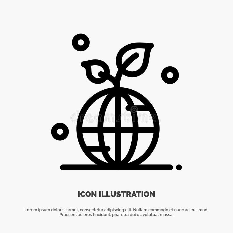 Earth, Green, Planet, Save, World Line Icon Vector vector illustration