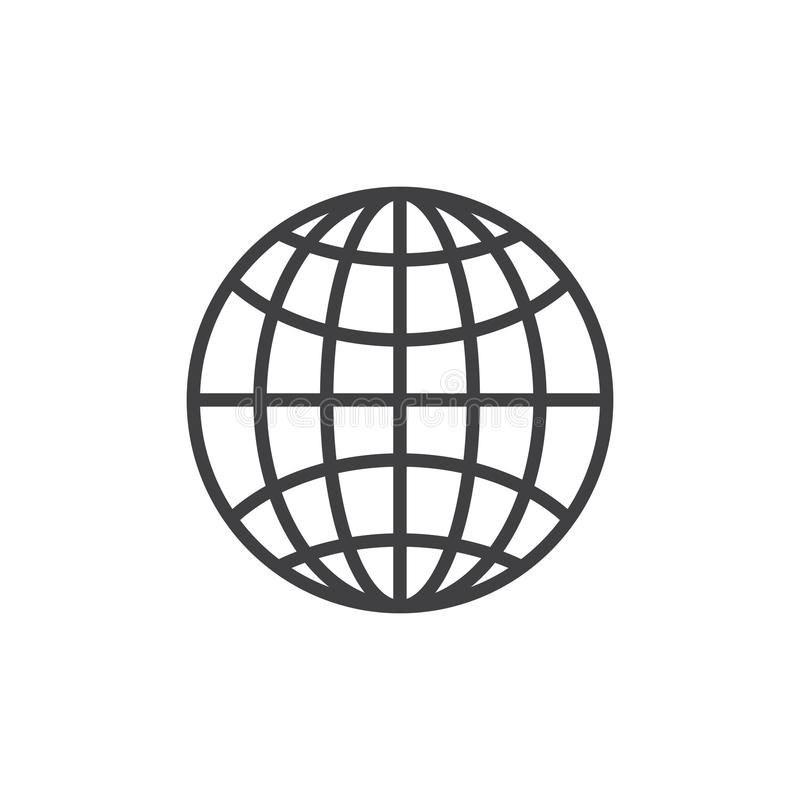 Earth grid outline icon stock illustration