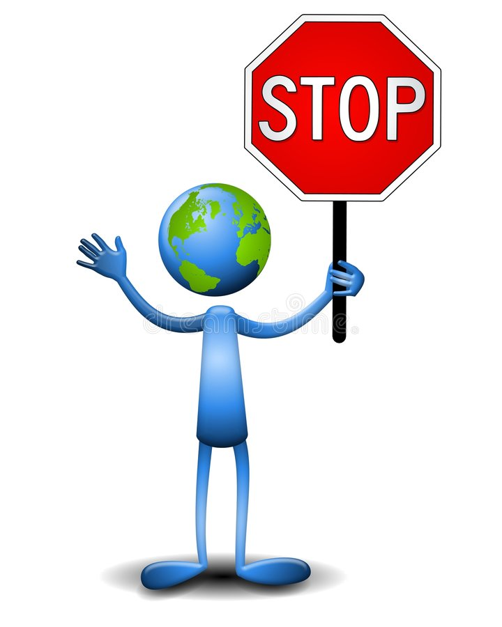 Earth Guy Holding Stop Sign. An illustration featuring an earth character holding a stop sign vector illustration