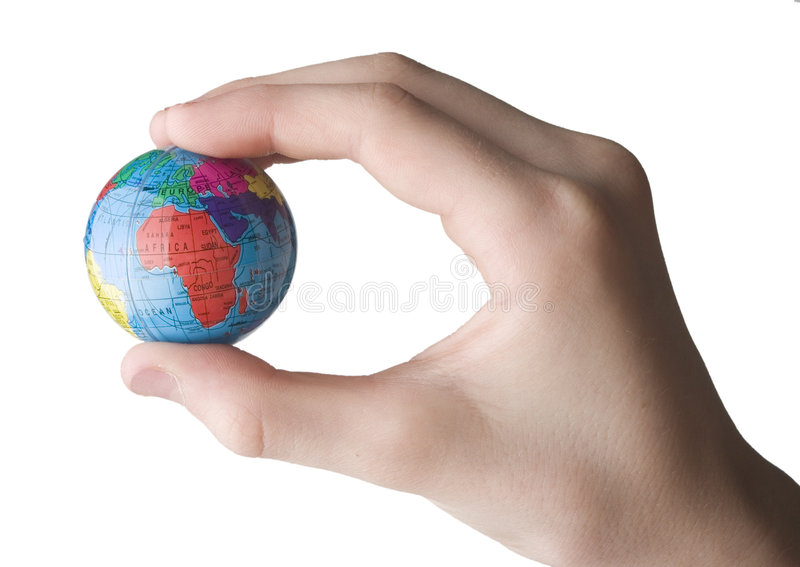 Earth in the hand stock photo