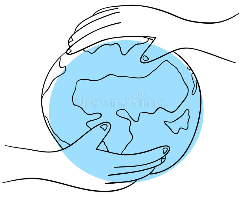 Earth in the hand vector illustration