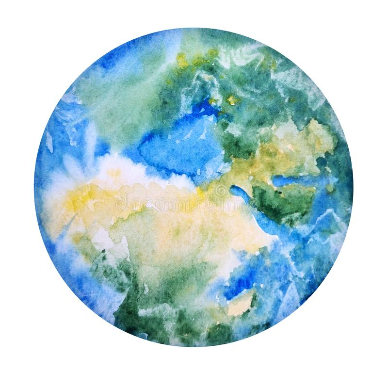 Earth Hand Drawn. Globe Watercolor Texture. World Map, White Background. Save Planet Icon Concept. royalty free illustration