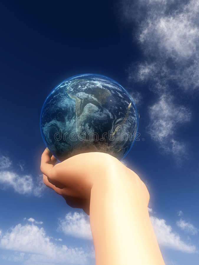 Download Earth In Hand In Front Of Sky 24 Stock Illustration - Image: 5365266