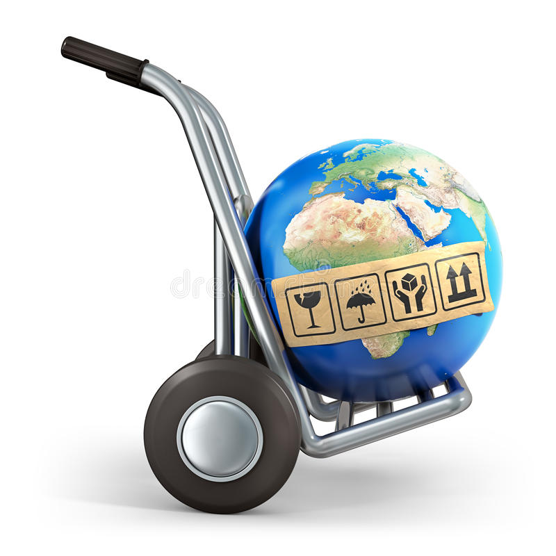 Earth And Hand Truck Royalty Free Stock Images