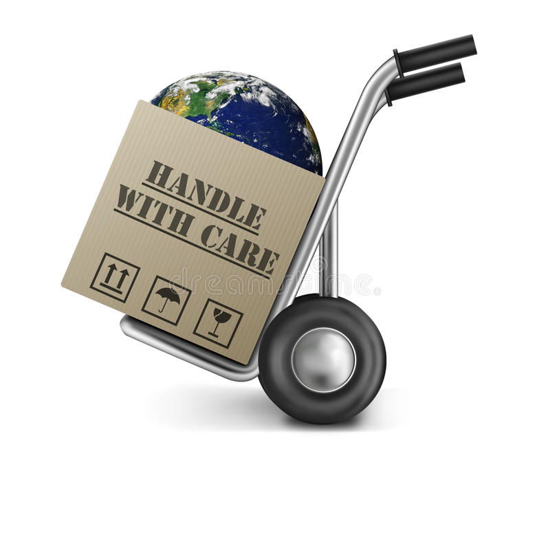 Earth handle with care fragile planet vector illustration