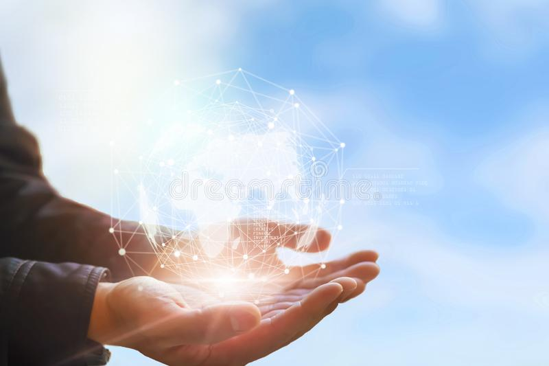 Earth in hands. Global planet on hand. environment concept royalty free stock photos