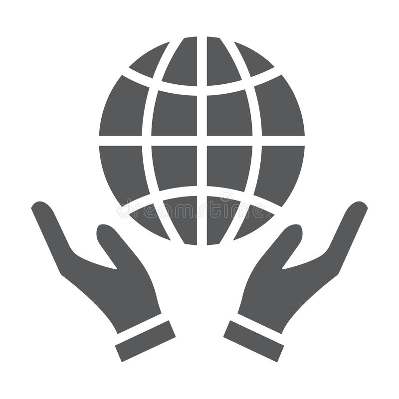 Earth in hands glyph icon, ecology and globe, planet in arms sign, vector graphics, a solid pattern on a white royalty free illustration