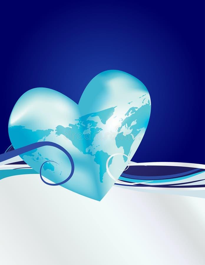 Earth Heart Blue Silver royalty free stock photos
