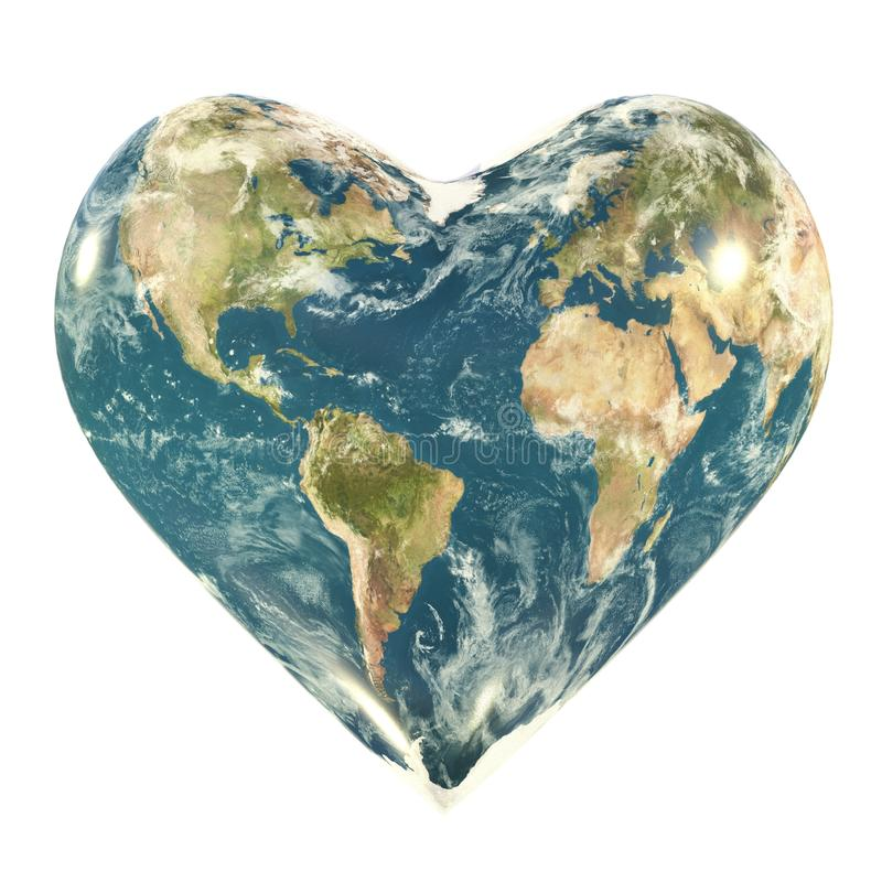 Earth with heart shape royalty free illustration