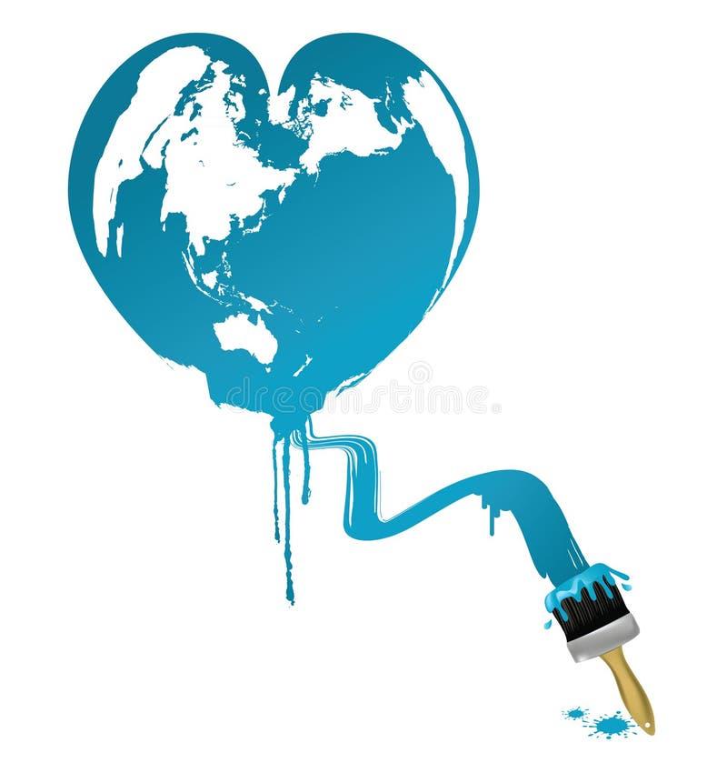 Earth heart shaped stock illustration