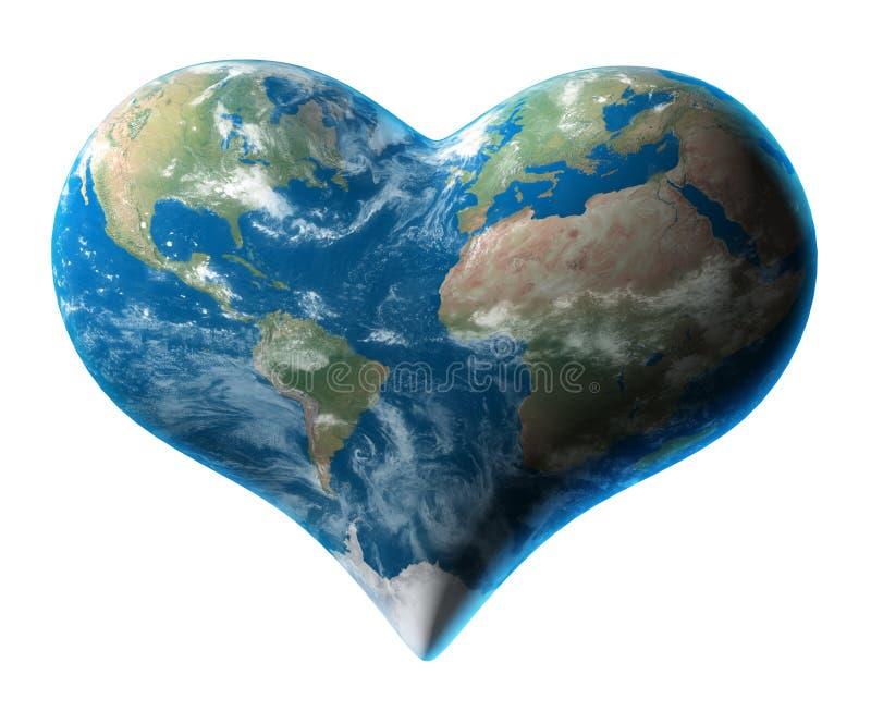 Earth - heart symbol vector illustration