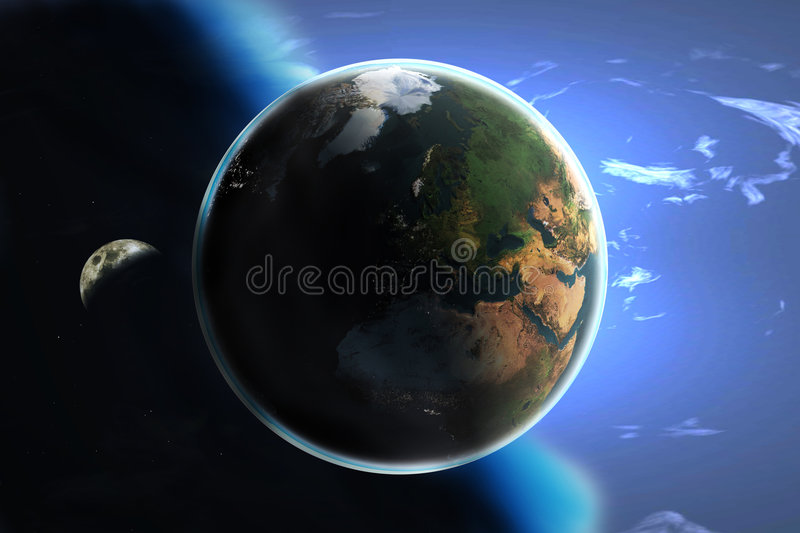 Earth and the heavens (day and night) stock illustration