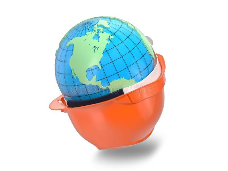 Earth in the helmet stock illustration