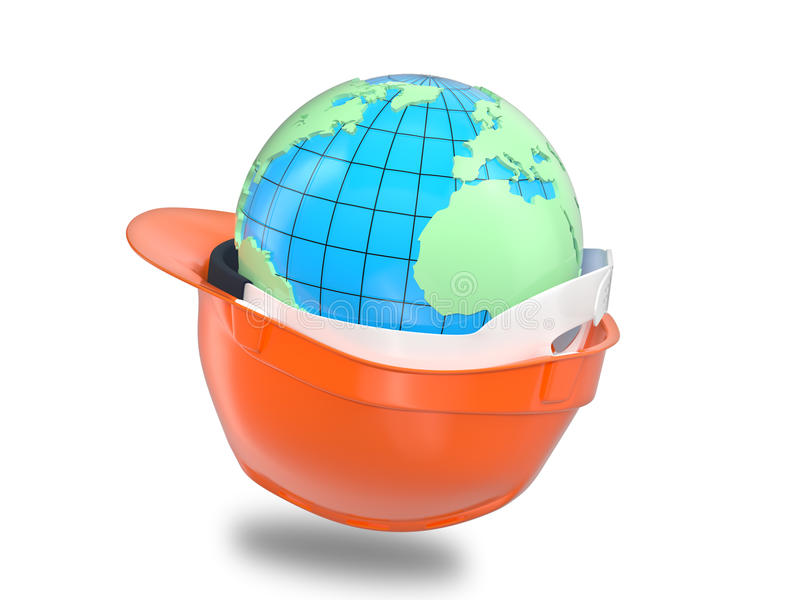 Earth in the helmet royalty free illustration