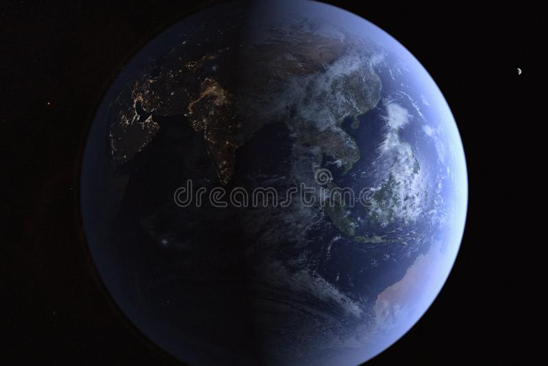 The Earth from High Orbit. Digital Illustration of the Earth from High Orbit with the Moon in the distance vector illustration