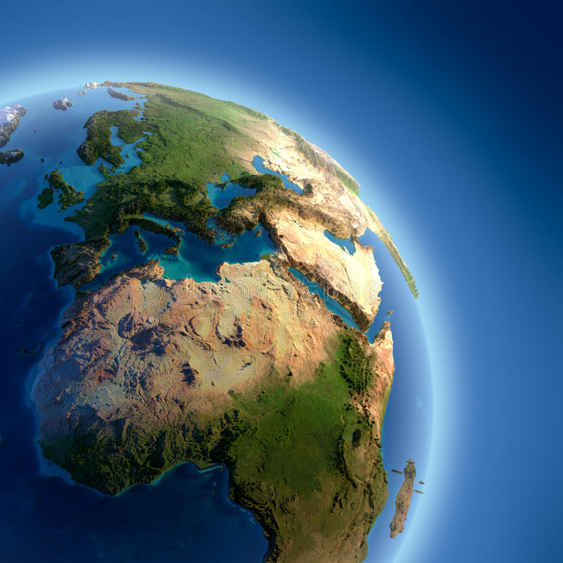 Download Earth With High Relief, Illuminated Stock Illustration - Image: 22548340