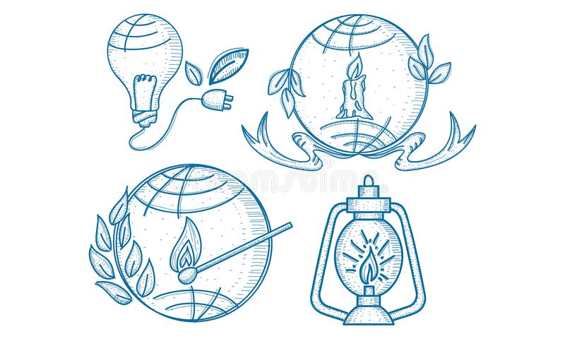 Earth Hour 60 Minute Template Set. Vector stock illustration