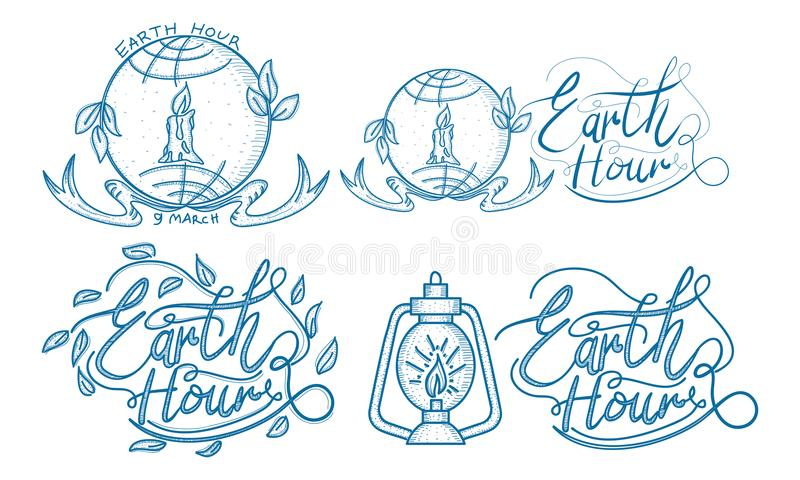 Earth Hour 60 Minute Template Set. Vector vector illustration