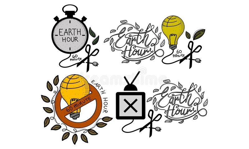 Earth Hour 60 Minute Template Set. Vector royalty free illustration