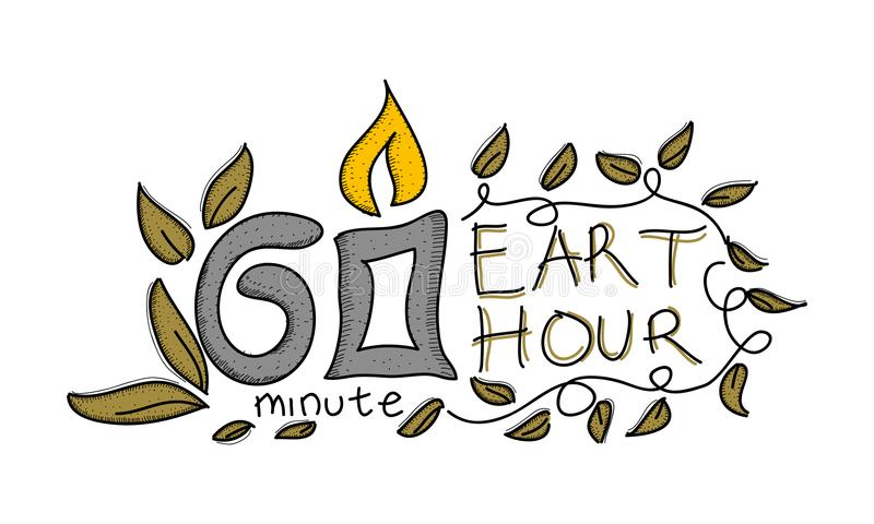 Earth Hour 60 Minute Template. Vector royalty free illustration
