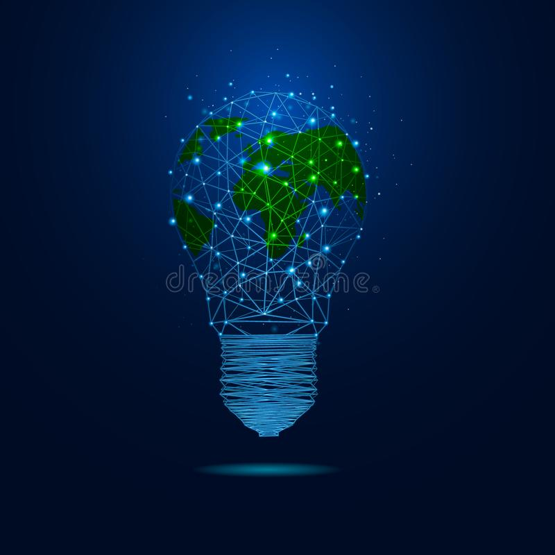 World Earth Hour light bulb concept. Earth Hour. Vector illustration of the planet in light bulb on a dark background the night sky. Ecology and conservation of royalty free illustration