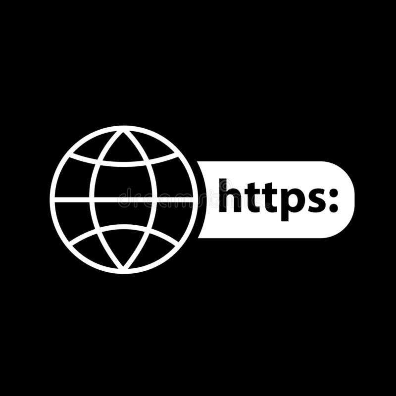 Earth and https  for web icons and symbols on a black background. And flat vector illustration