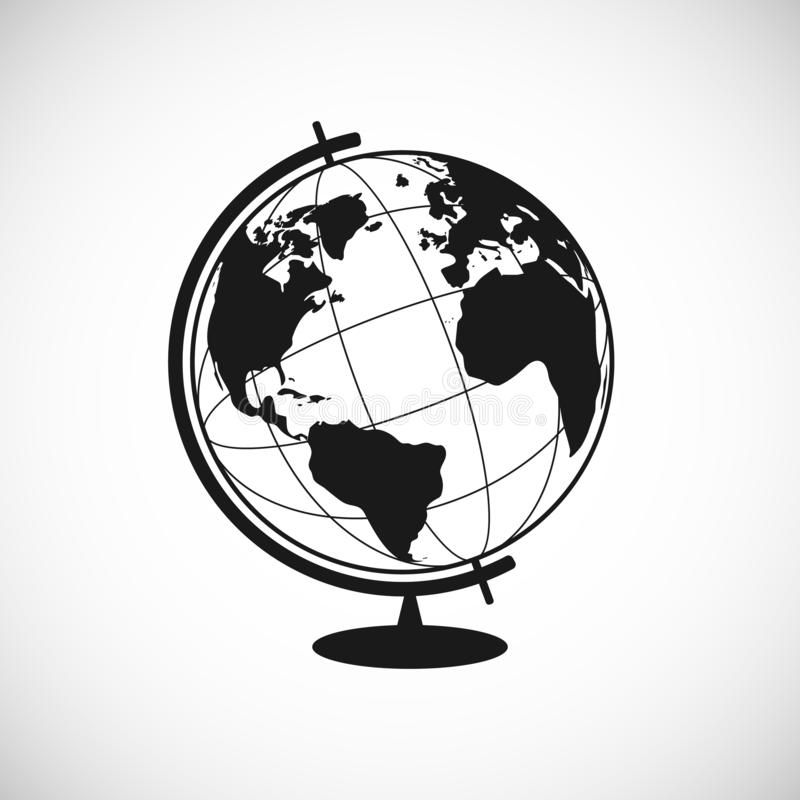 Earth Icon in trendy flat style. Globus silhouette. World globe pictogram for web site design, logo, app. Vector illustration royalty free illustration