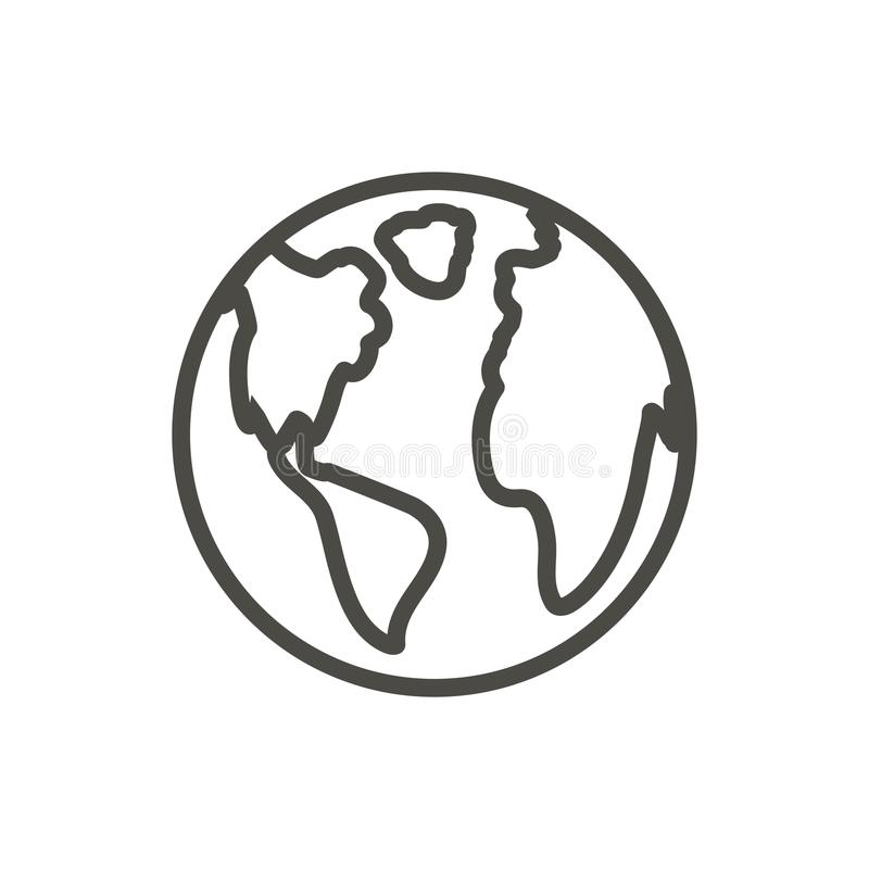 Earth icon vector. Outline world globe. Line planet symbol. royalty free illustration
