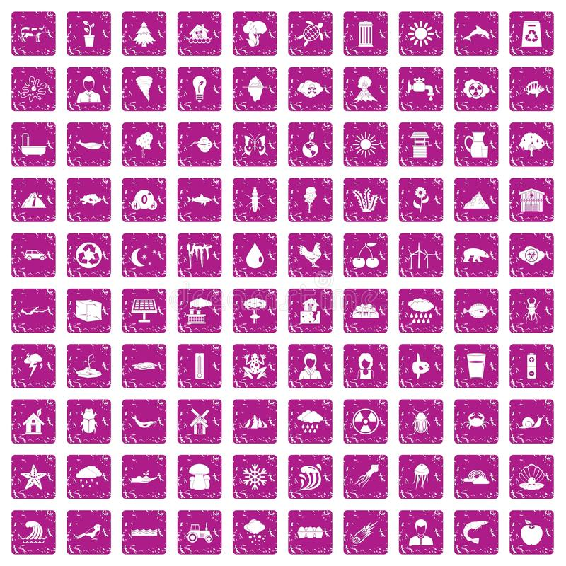 100 earth icons set grunge pink. 100 earth icons set in grunge style pink color isolated on white background vector illustration stock illustration