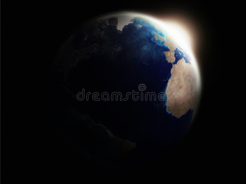 Earth Illuminated By Rising Sun Rays Stock Photo