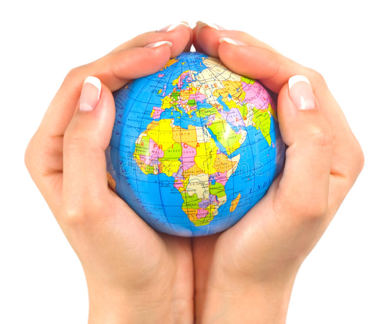 Earth inside hands stock photography