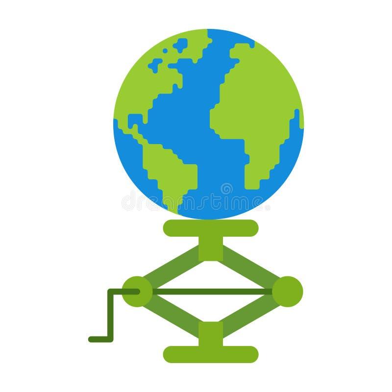 Earth jack up. jack-screw earth. Concept of raising world stock illustration