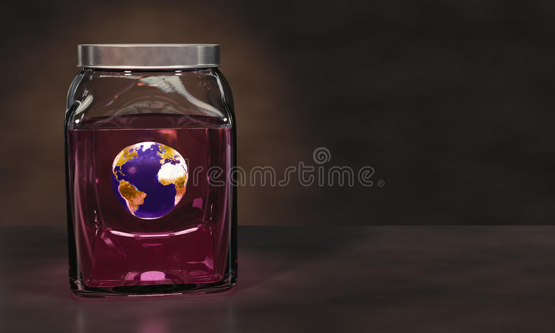 Earth in a jar of pink liquid. Preserving Planet Earth in a glass jar of pink liquid stock illustration