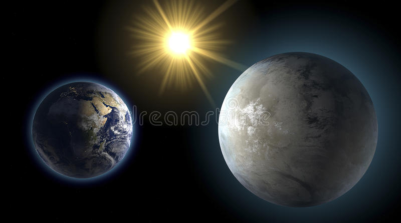 Earth and Kepler 452-b, sister planet, comparison. Earth and its sister planet in the Cygnus constellation royalty free illustration