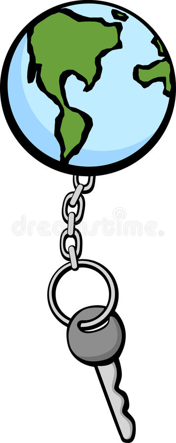 Download Earth Keychain And Key Vector Illustration Stock Image - Image: 15871231