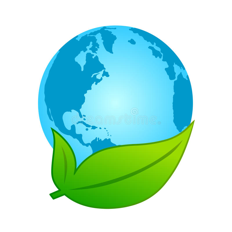 Earth and leaf Eco-friendly concept stock illustration