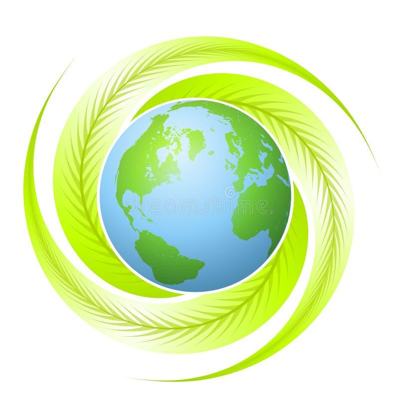 Earth With Leaf Swirls Logo royalty free stock photos