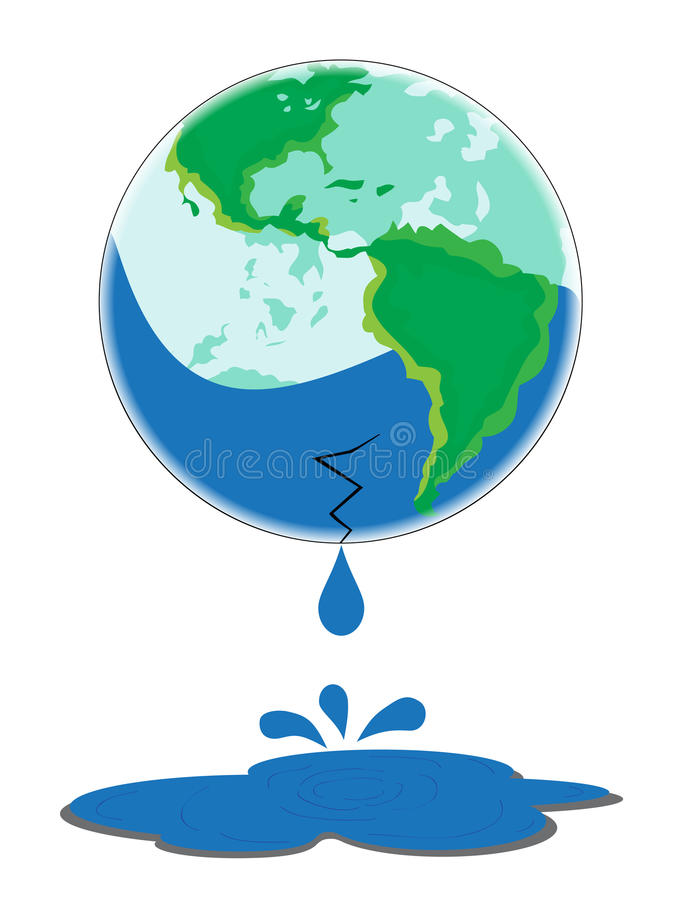 Download Earth Leaking Water On White Background Stock Illustration - Illustration: 25789848