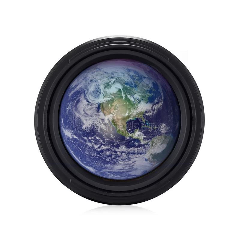 Earth in a lens. Elements of this image furnished by NASA stock image