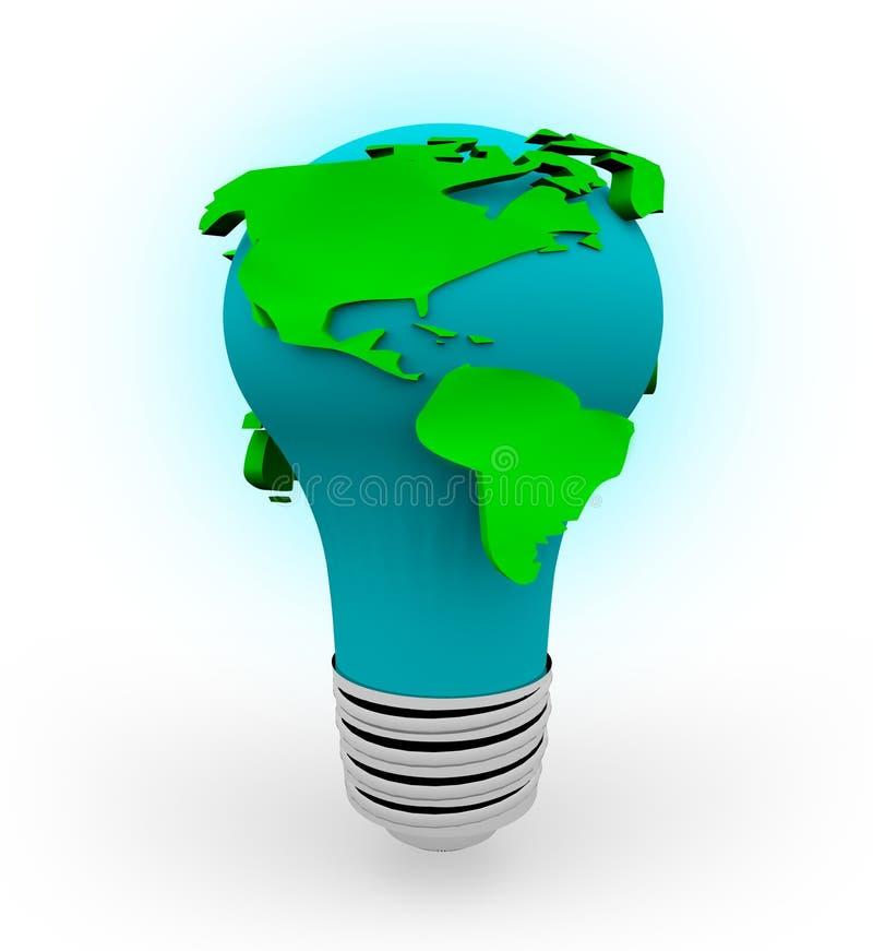 Earth Light Bulb - White Background. A light bulb in the shape of the Earth on a white background vector illustration