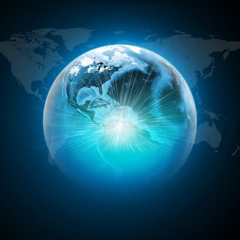 Earth with light and world map on dark blue stock image image of download earth with light and world map on dark blue stock image image of concept sciox Choice Image